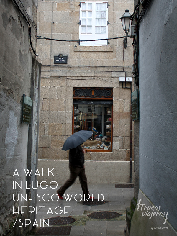 A walk in Lugo Unesco World Heritage Town Galicia Spain
