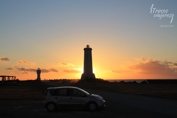lighthouse in Akranes sunset